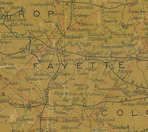 TX Fayette County 1907 postal map