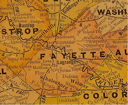 Fayette County Texas 1930s map