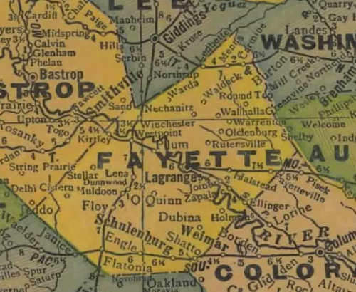 TX Fayette County 1940s map
