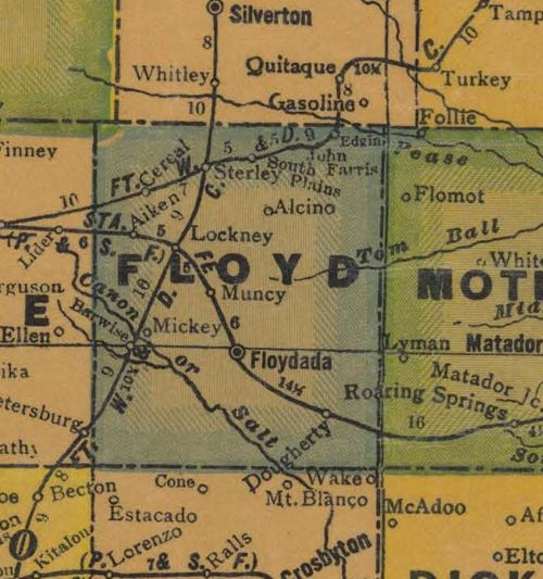 TX Floyd County 1940s Map