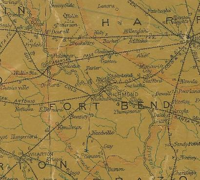 Ft Bend County Texas 1907 postal map