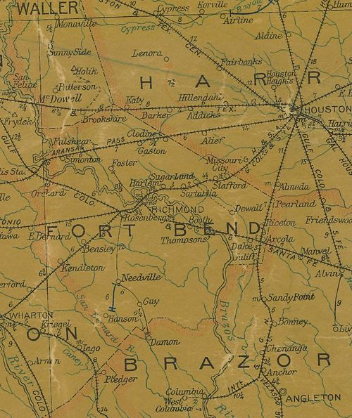 TX  Fort Bend County 1907 Postal Map