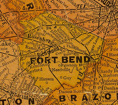 Fort Bend  County Texas 1920s map