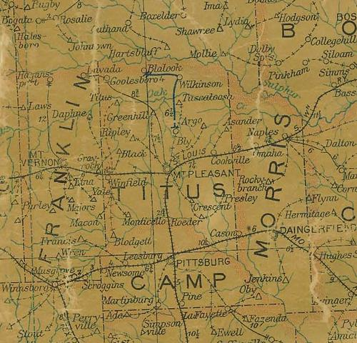 TX - Titus County 1907 postal map