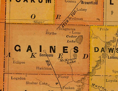 TX Gaines County 1920s map