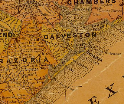 Galveston County Texas 1920s map