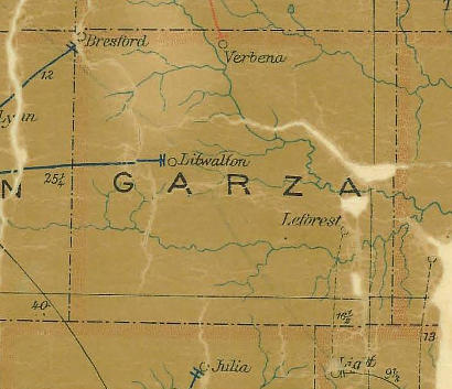 Garza County TX 1907 Postal Map
