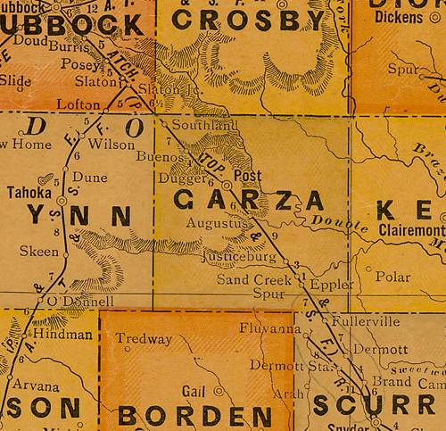 TX Garza  County 1920s Map