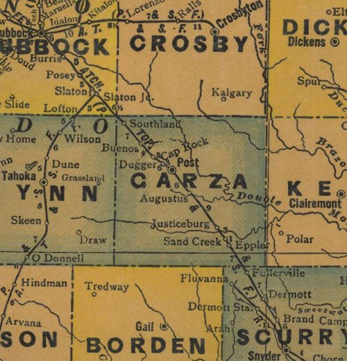 Garza County TX 1940s Map