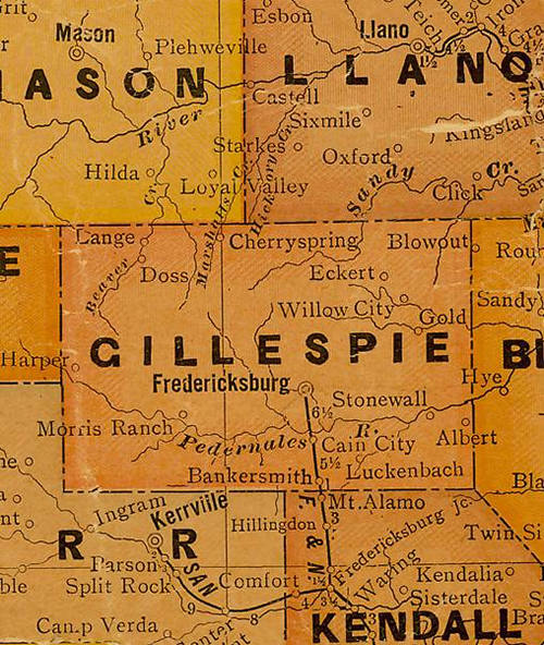 Gillespie  County TX 1920s Map