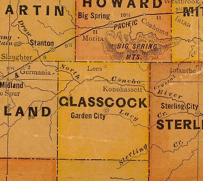 Glasscock County TX 1920s Map