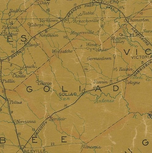 TX Goliad County 1907 Postal Map