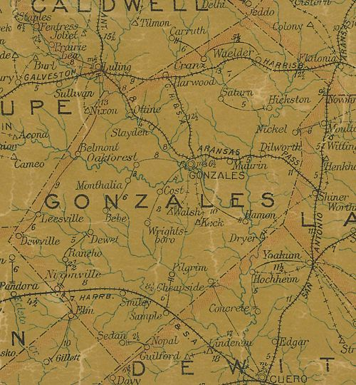 TX  Gonzales  County 1907 Postal Map