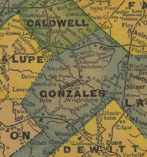 TX  Gonzales  County 1920s Map