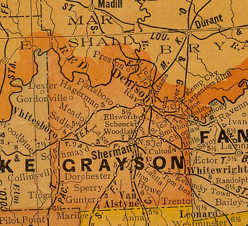 TX Grayson  County 1920s Map
