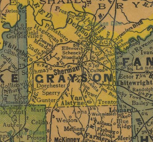 TX  Grayson County 1940s Map
