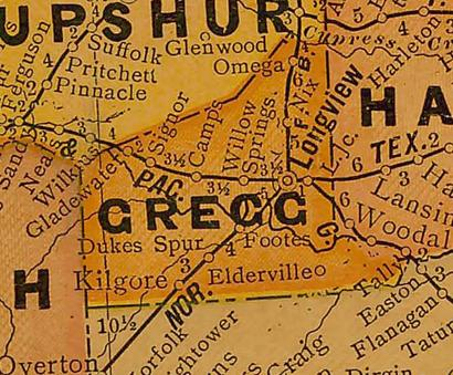 TX Gregg  County 1920s Map