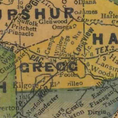 TX Gregg  County 1940s Map