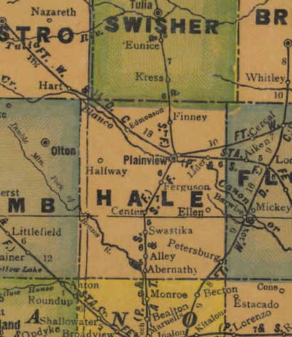 TX Hale County 1940s Map
