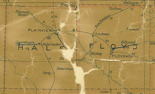 Hale County Texas 1907 Postal map