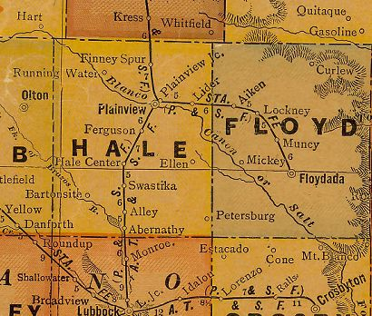 Hale County Texas 1920s map