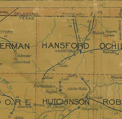 Hansford County Texas 1907 Postal map