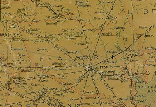 Harris County Texas 1907 Postal map