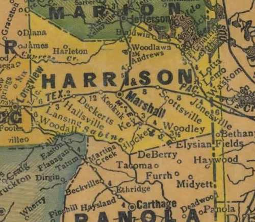 Harrison  county TX 1940s map
