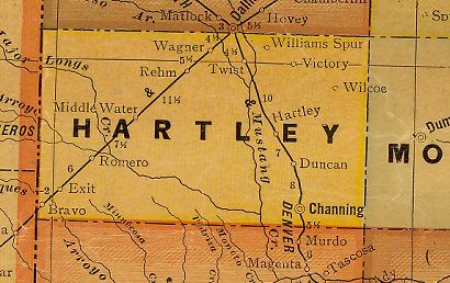 Hartley County Texas 1920s map