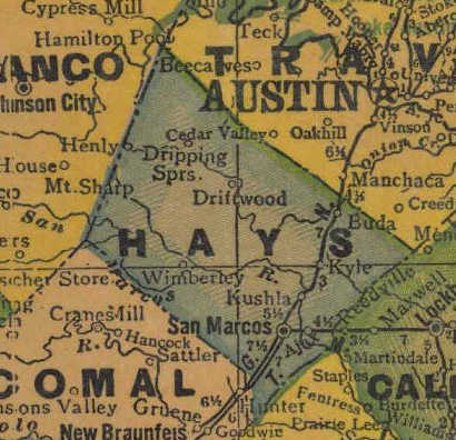 TX Hays  County 1940s Map