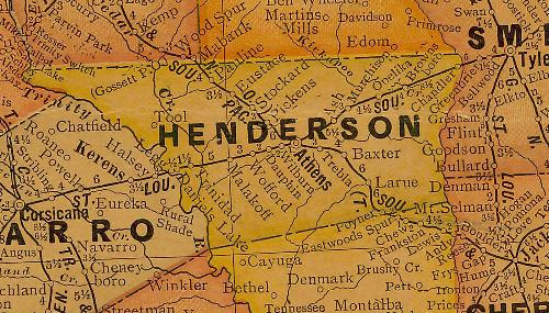 Henderson County TX 1920s Map
