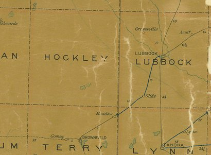 Hockley County TX 1907 postal map