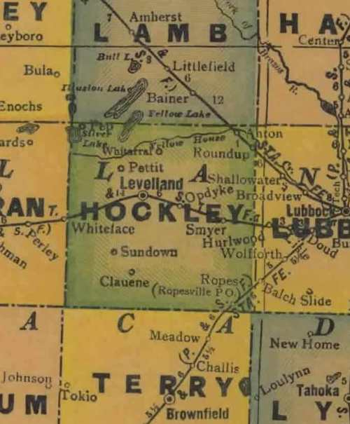 1940s Hockley County Texas map