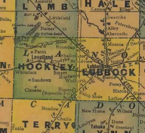 Hockley County TX 1940s map