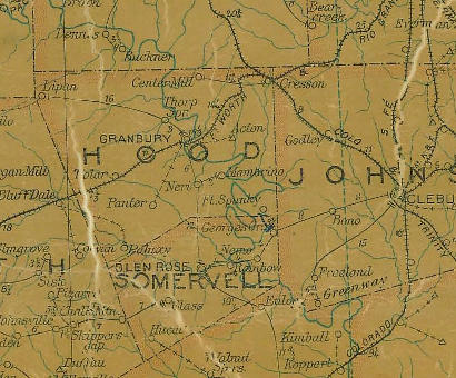 Hood County TX 1907 Postal Map