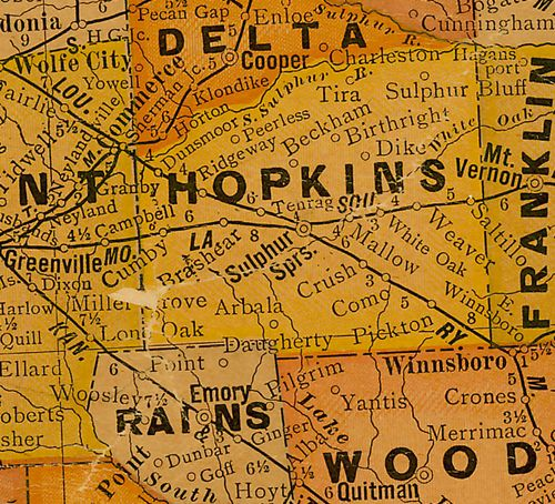 Hopkins County TX 1920s Map
