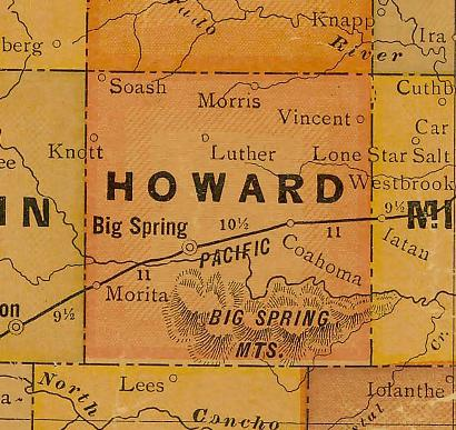 TX Howard  County 1920s map