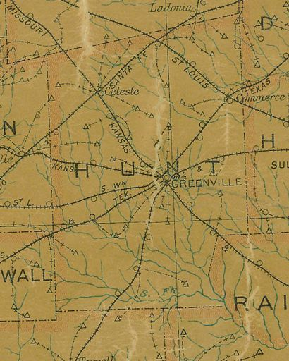 TX  Hunt  County 1907 postal map