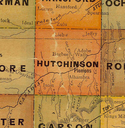 TX Hutchinson County 1920s Map