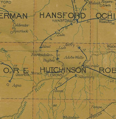 Hutchinson County TX 1907 postal map