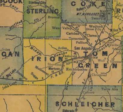 Irion County Texas 1940s map