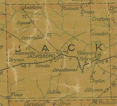 TX Jack County Texas 1907 Postal Map