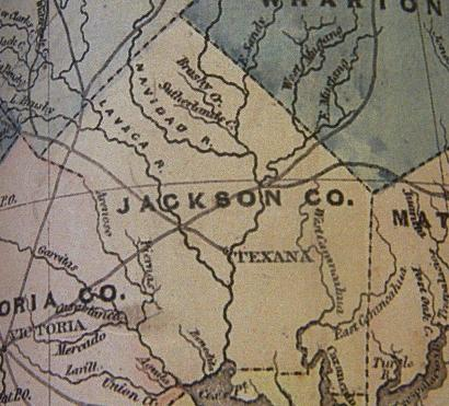 Jackson County TX 1856 Map