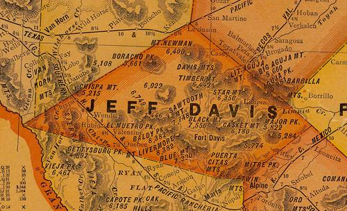 Jeff Davis County TX 1920s Map