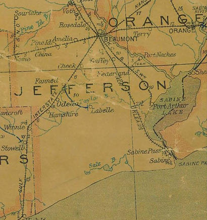 Jefferson County Texas 1907 postal map