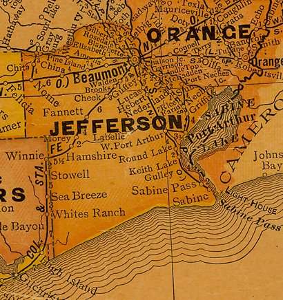 Jefferson County Texas 1920s map