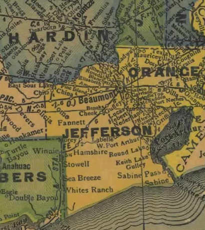 Jefferson County Texas 1940s map