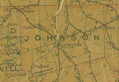 TX Johnson County 1907 Postal Map