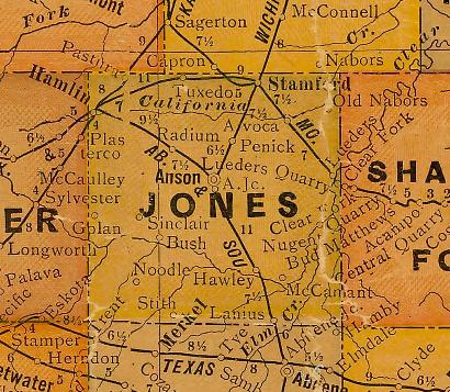 Jones County TX 1920s Map