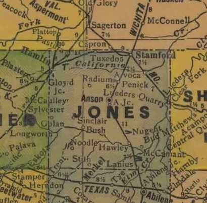 TX  Jones County 1940s map